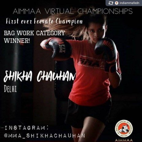 AIMMAA Virtual MMA Championships Winner of the Bag work category, winning 15 k as prize, here's to our first ever female champion @mma_shikhachauhan